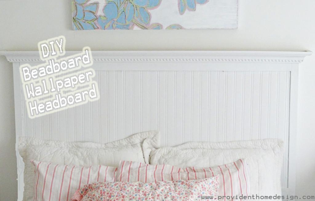 headboard with beadboard wallpaper