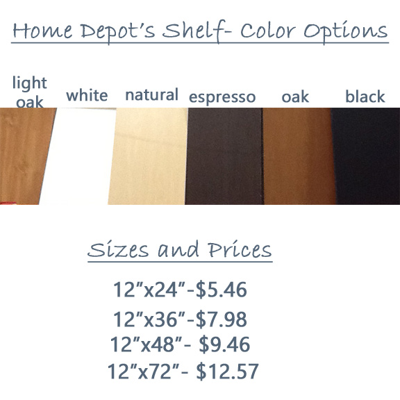 Colors and prices of shelf