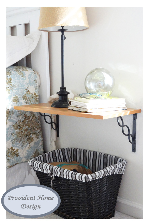 Shelf used as nightstand