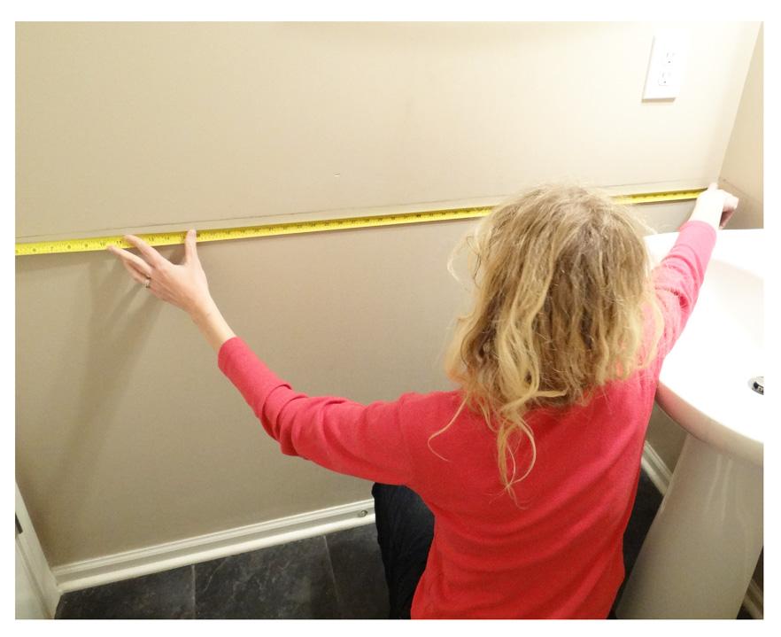 measuring wall for chair rail cut
