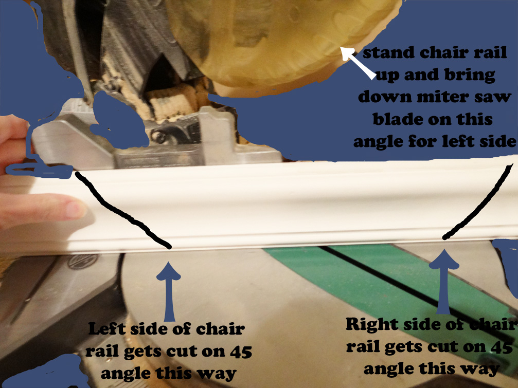 Chair Rail Up Or Down Part - 44: Once Your Cuts Are Made, Start With One Wall And Hold The Coordinating Chair  Rail Piece Up Against The Wall. Be Sure To Match It Up With The Line You  Made.