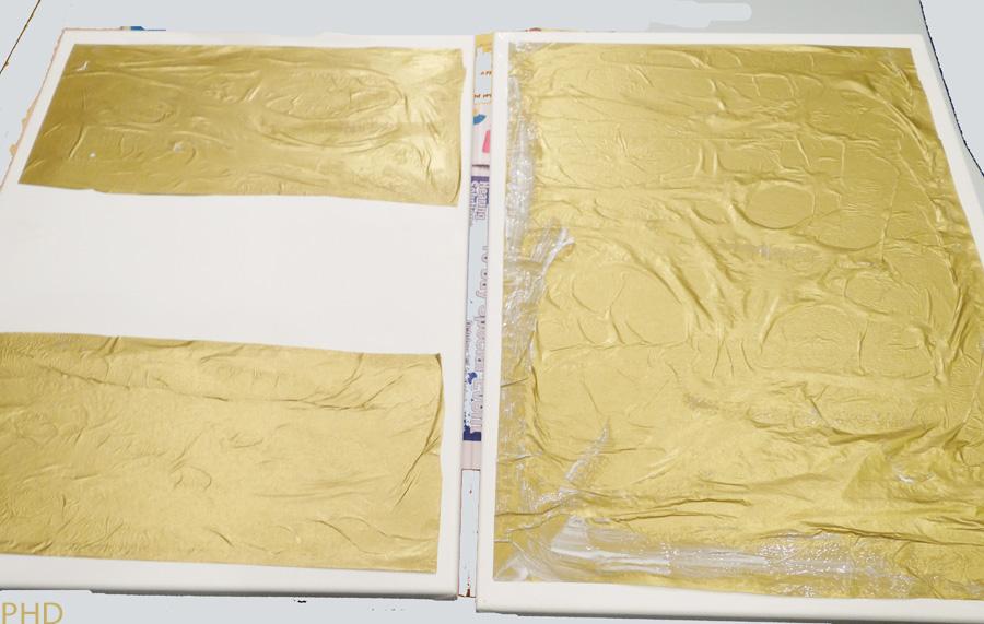 paste gold tissue paper