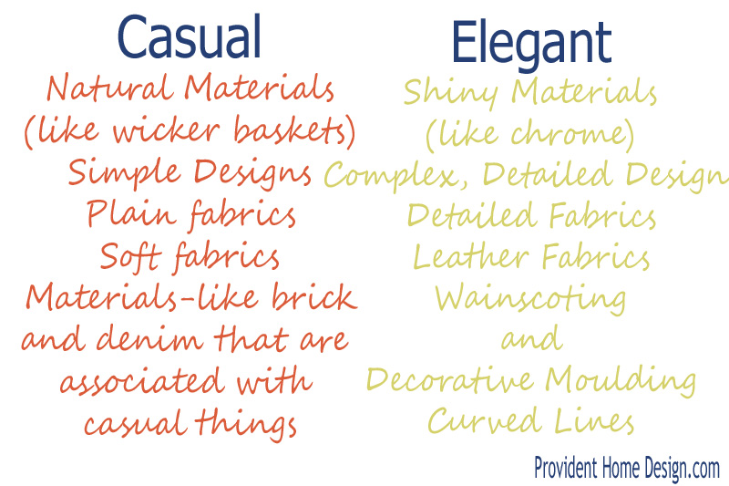Elements of casual elegance in interior design