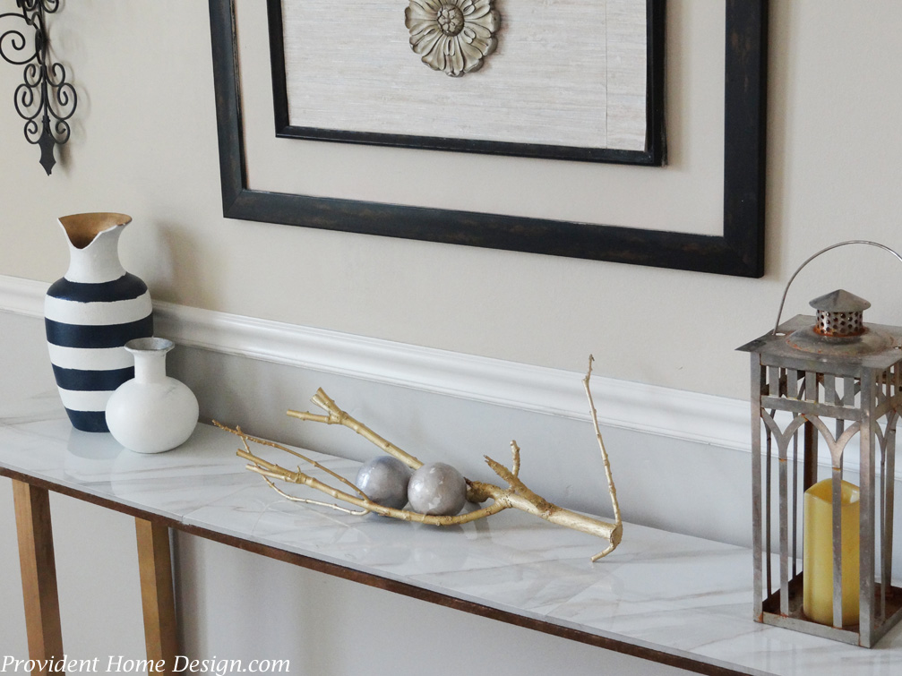 My Fav Console Shot. DIY Marble Top Console Table
