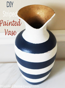 blue and white striped painted vase