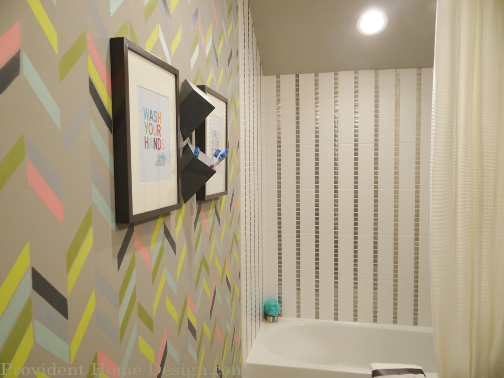 Kids Bathroom Painted Patterned Wall