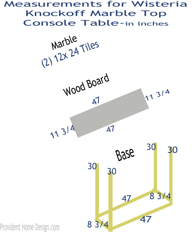 Marble top console table measurements