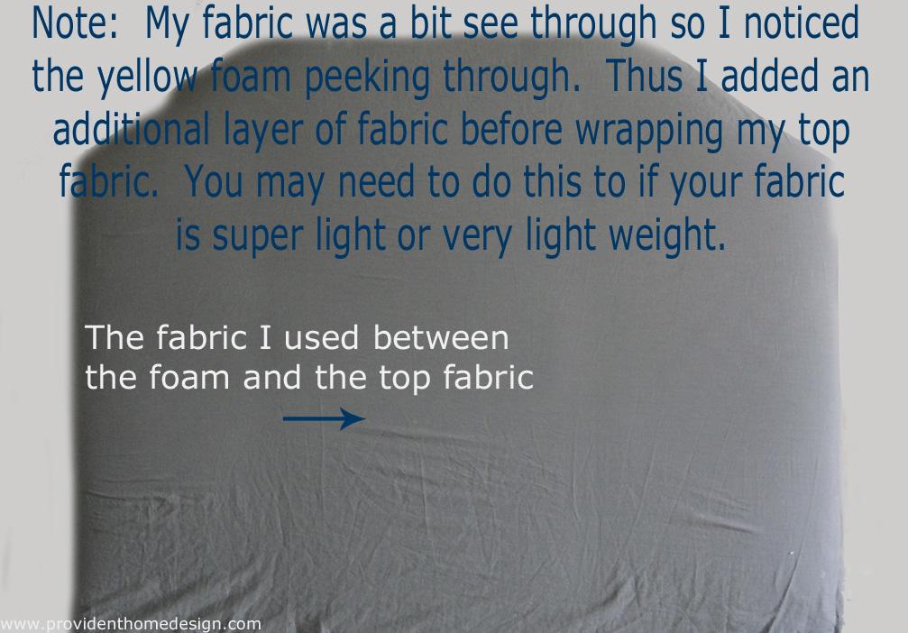 extra fabric added to headboard