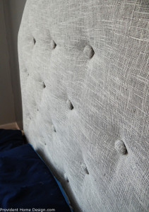 gray upholstered headboard