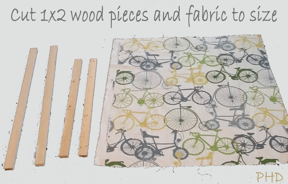 cut wood and fabric to size for stretched fabric wall art