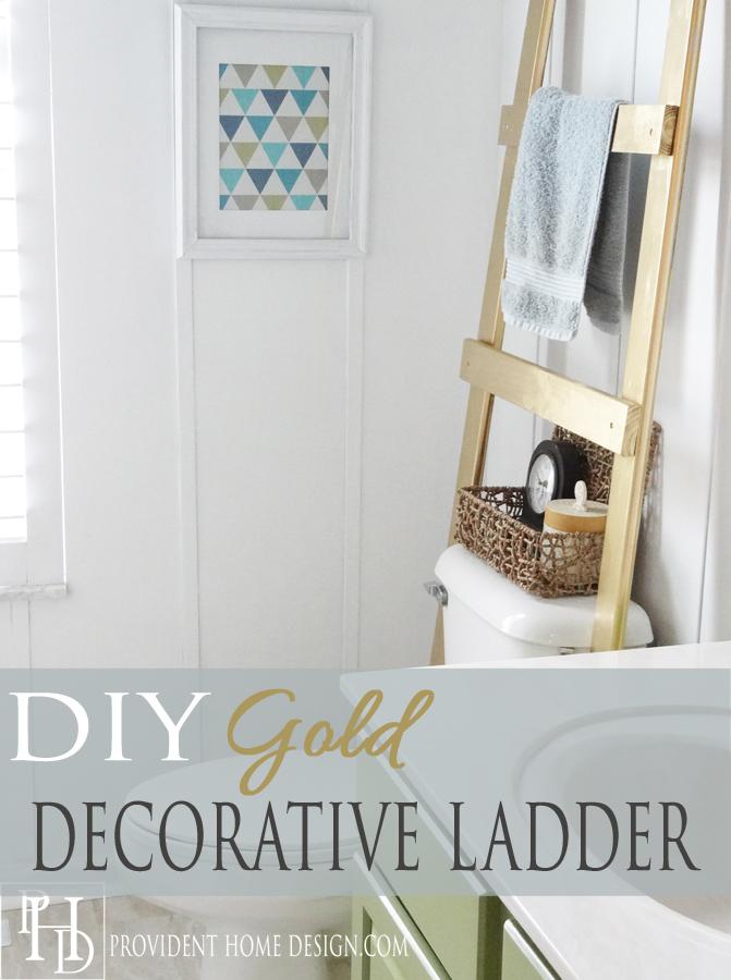 DIY Gold Ladder Towel Holder 2