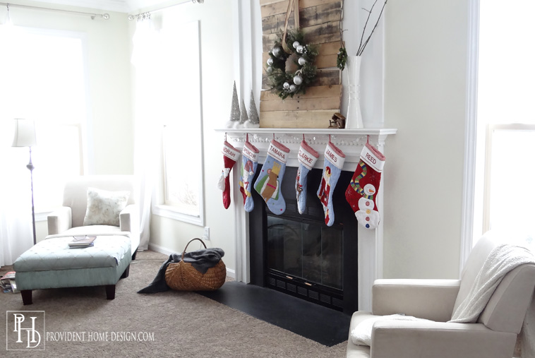Christmas Family Room with Mantle