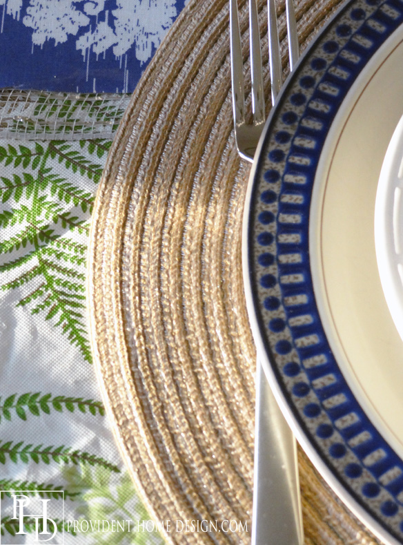 Fern Tablecloth with Blue Accents