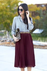 pleated-midi-skirt Marsala