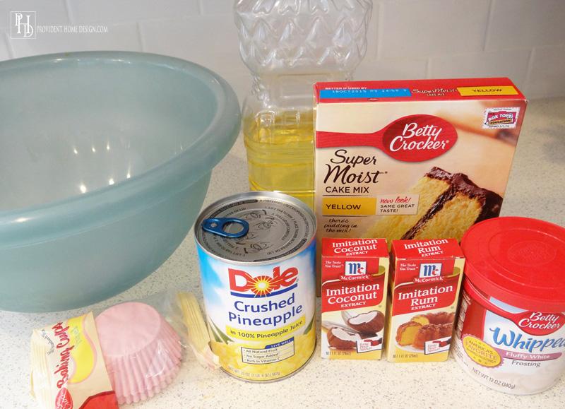 Pina Colada Cupcake Ingredients