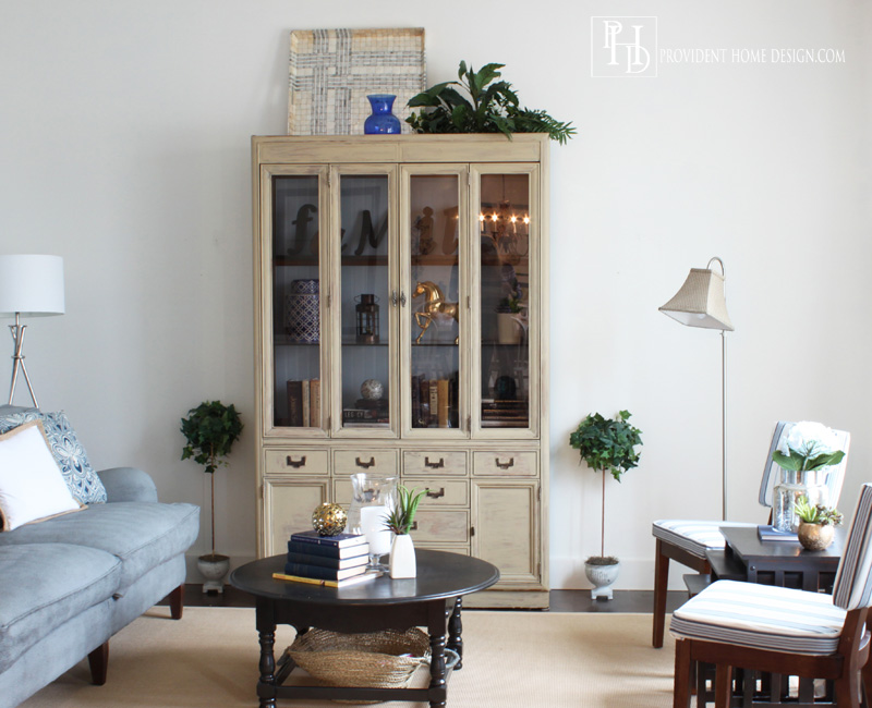 Living Room Makeover Hutch and Topiaries