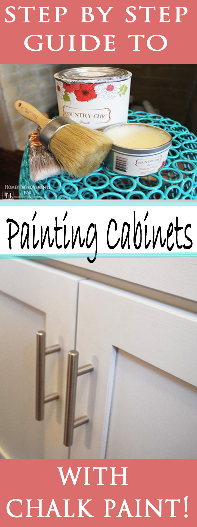 Step by Step Tutorial on how to paint cabinets with Chalk Paint