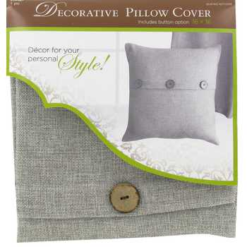 Linen Pillow Cover with Buttons