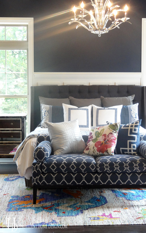Beautiful Navy and White Master Bedroom