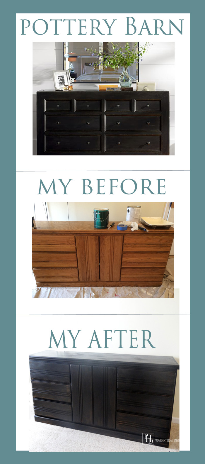 How to Paint a Dresser Black Pottery Barn Style