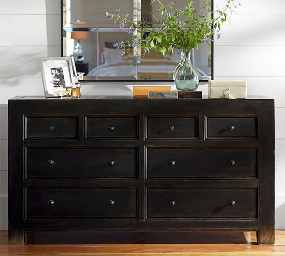 Pottery Barn Distressed Black Dresser