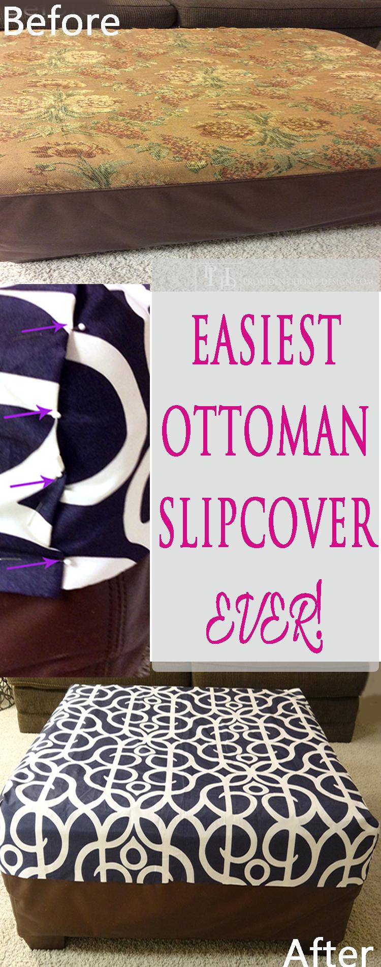 Easiest Ottoman Slipcover Ever