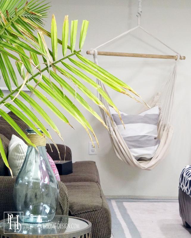 Hanging Chair in Basement Rec Room