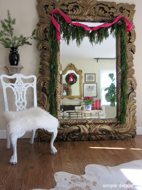 Christmas Home Tour - Oversize Ornate Gold Mirror - Simple Details