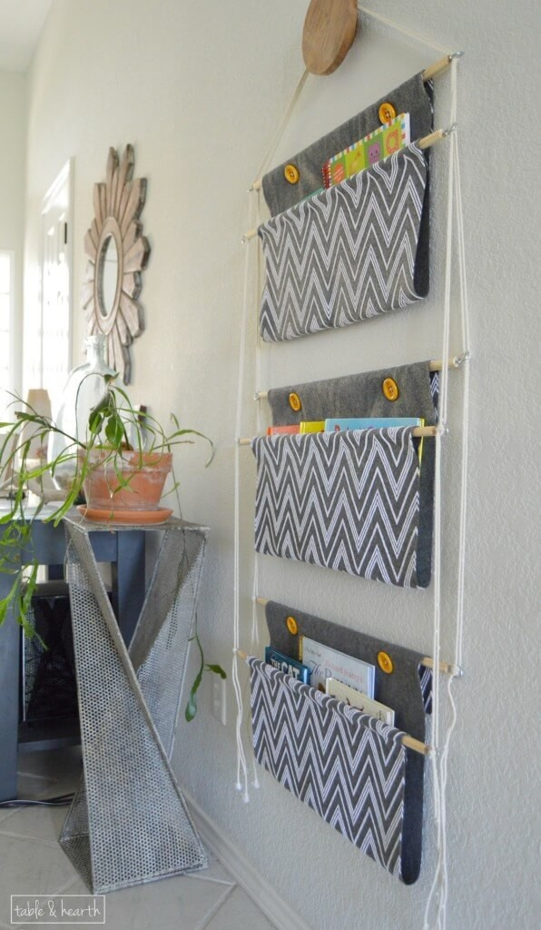 Hanging-fabric book-holder