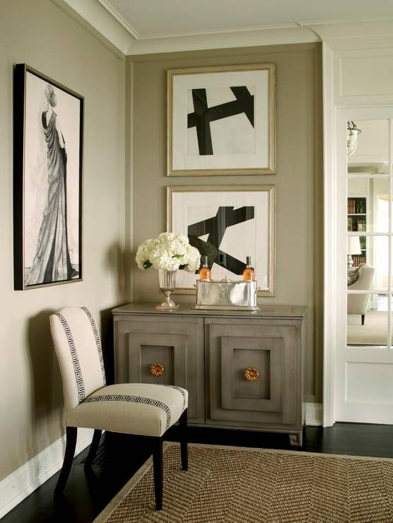 taupe-dining-room-gray-cabinet-black-abstract-art