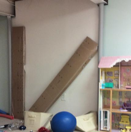 DiY media wall storage unit before