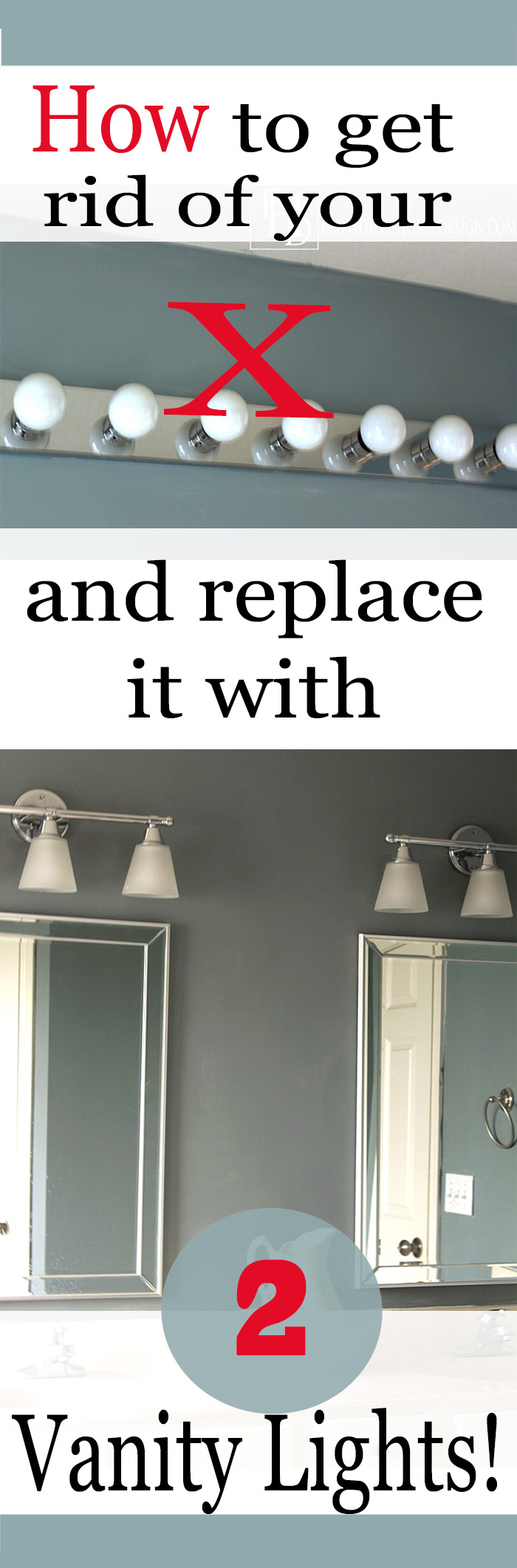 How to replace a hollywood light with 2 vanity lights how to replace your hollywood light with 2 vanity lights arubaitofo Choice Image