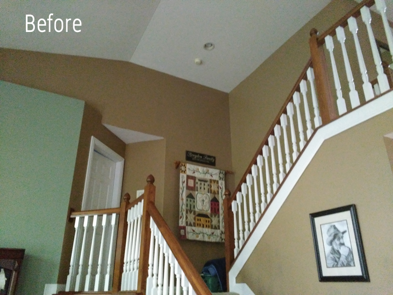 Before Painting a Two story stairway