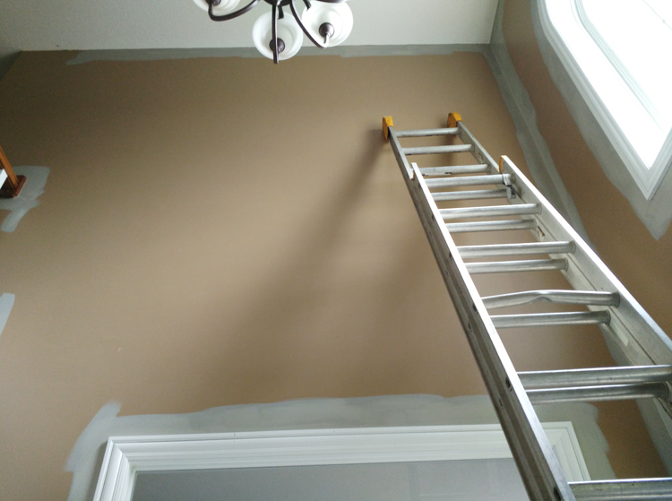 How to paint a 2 story wall