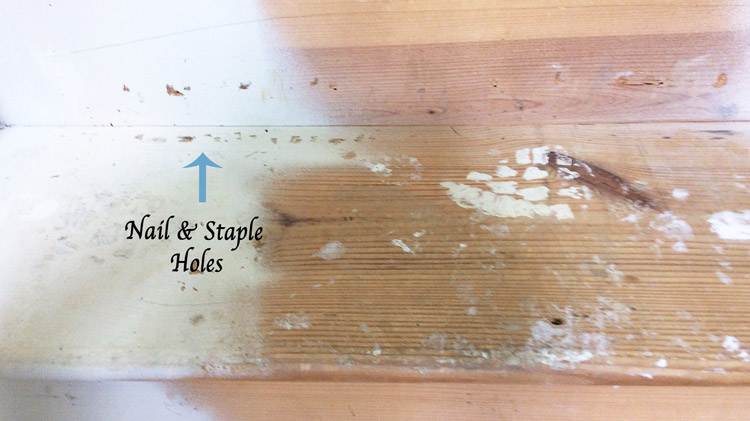 Stair Makeover Fill Staple and Nail Holes