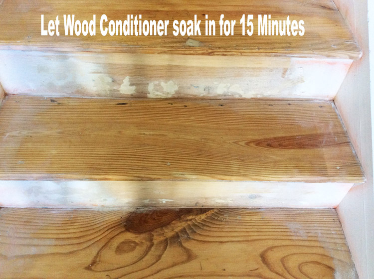 Stairs Makeover Apply Wood Conditioner