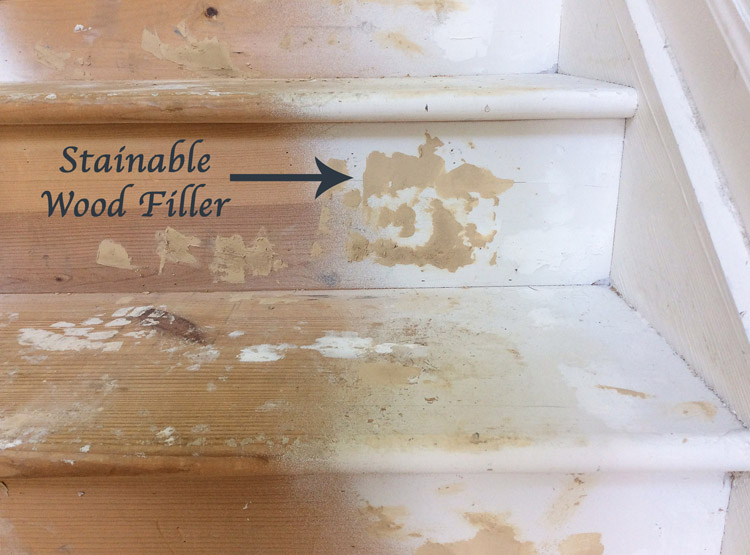 Stairs Makeover Fill Holes With Stainable Filler