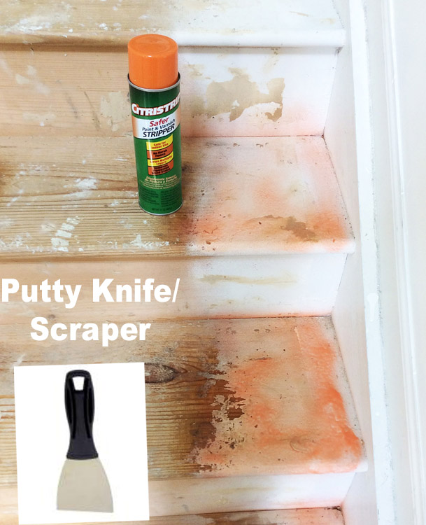 Stairs Makeover Scrape Paint off Stairs