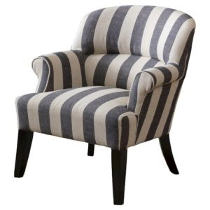 Amelia Blue Stripe Fabric Club Chair
