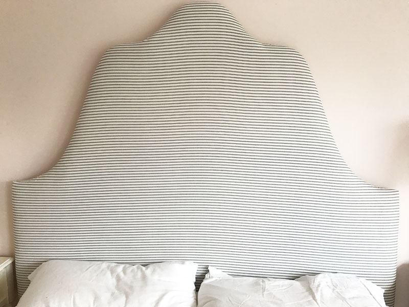 DIY Pinstripe Headboard After