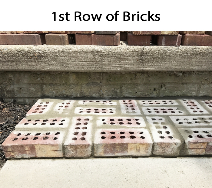 DIY Brick Step First Row of Bricks